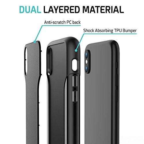 iPhone X Custodia ZUSLAB [Armatura Sottile] Custodia ibrida a doppio strato con protezione dello schermo in vetro, Esterno rigido PC e interni morbidi TPU silicone, Ultra-sottile, Copertura protettiva Nero