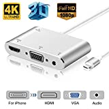 Microware VGA HDMI AV Adapter for IPhone IPad mirroring to TV Projector Monitor