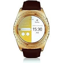 Jiazy Bluetooth SmartWatch teléfono reloj de pulsera con pantalla de monitor de ritmo cardíaco círculo completo de la tarjeta SIM TF Apoyo(Raya de cuero del