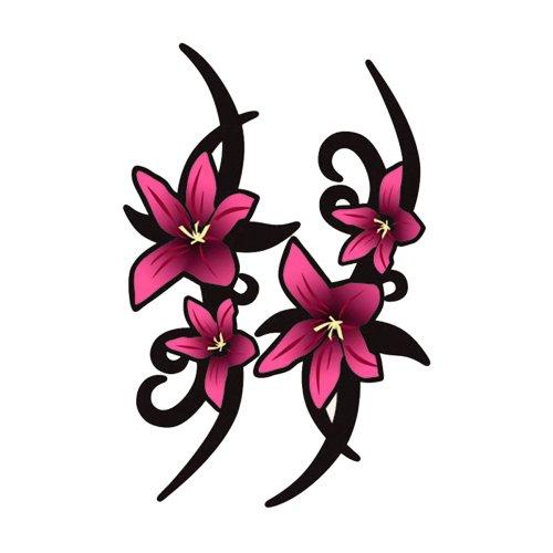 icker-Set/Aufkleber-Set Tribal-Blumen, 23 x 9 cm, Rosa, 2 Stück ()