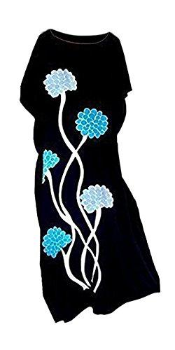 Cool, Sommer Kleid (DAHLIA schwarz Hand gezeichnet Blumen Coole Kaftan-Kleid-Sommer Beach Long Damen-Frauen Cool Kaftan)