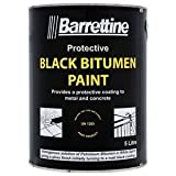Seaheaven Ltd Barrettine 5L Black Bitumen Paint Drum - Concrete Metal - Water & Damp Proof Coating