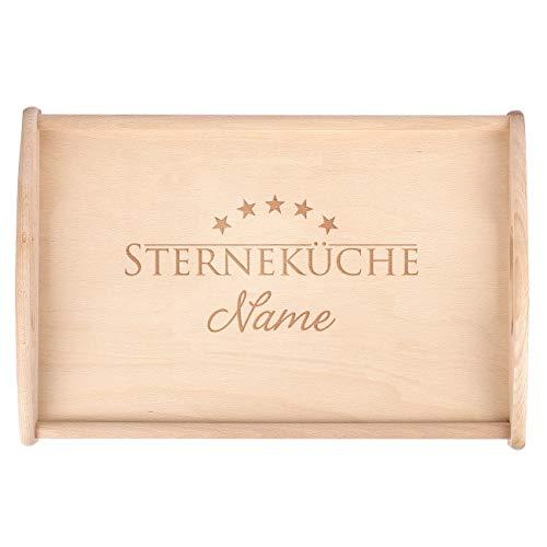 Herz & Heim® Personalisiertes Tablett aus Buchenholz 48 cm x 32 cm mit Gravur Sterneküche