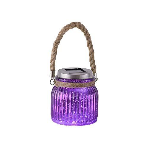 LED Solarlicht, Glaslicht, Gartendeko, Effektleuchte, Purpur-Violett, Windlicht, Dekorationsleuchte, Gartenlicht