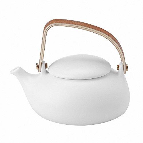 Zens Teekanne Porzellan Weiß mit Edelstahl Abnehmbare Sieb, Bugholz Griff 800ml Lifestyle,für Lose Blätter & Flower Tee Heißen Tee Kalten Tees Teebeuteln Kräutertee (Tülle-oberseite)