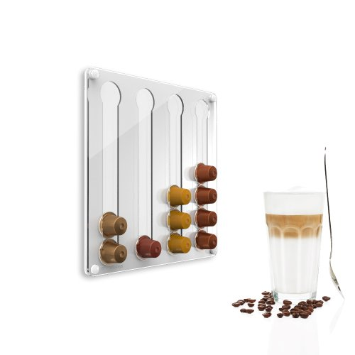 Plexidisplays 1303121 Wand-Kapselhalter für Nespresso-Kapseln, Design Klassik Mini, 29 x 29 cm, weiß - 2