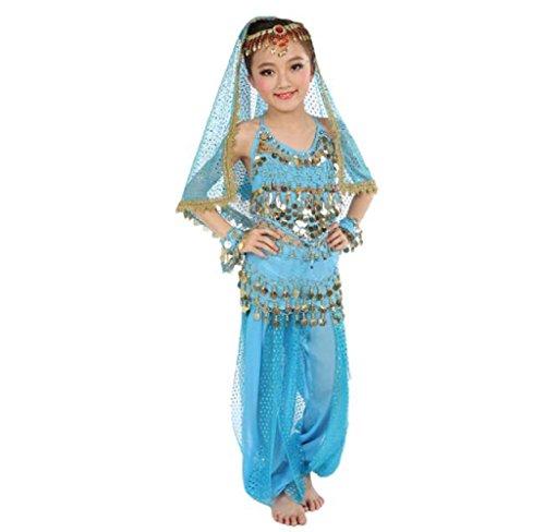 Amcool Schön Mädchen Bauchtanz Kostüme, Kinder Bauchtanz Indisch Performance Kleid Kleider (XL, Himmelblau)