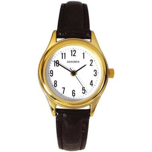 Sekonda-Womens-Quartz-Watch-with-White-Dial-Analogue-Display-and-Black-Leather-Strap
