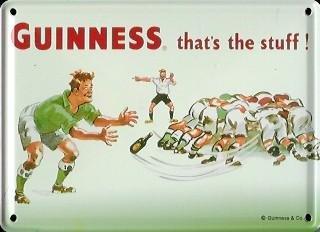Guinness reklamewelt affiche métallique avec mini-rugby - 8 x 11