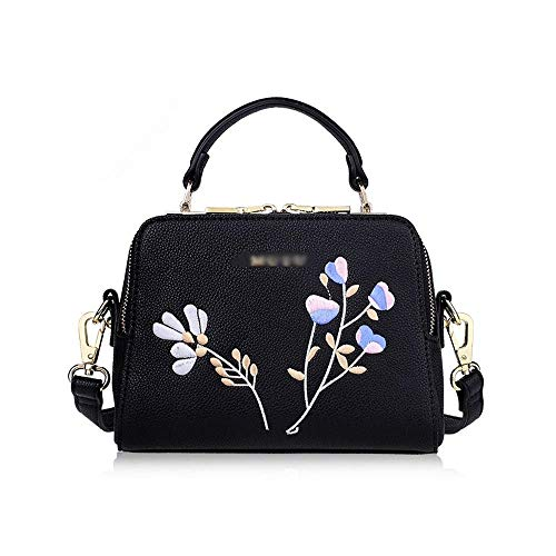 RUIMA New Wave koreanische Version des Wilden Messenger Bag Umhängetasche Handtaschen Stickerei Blumenbeutel (Farbe : Schwarz)