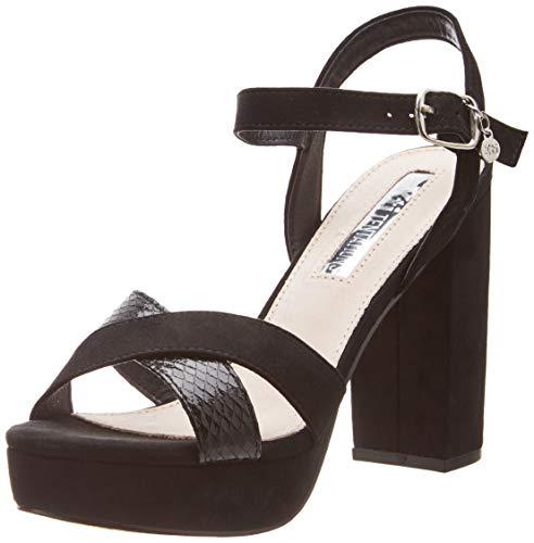 XTI 32055, Zapatos Tira Tobillo Mujer, Negro, 41 EU