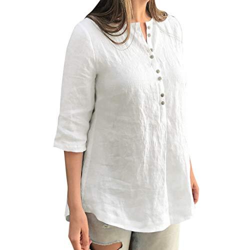 Haughtily Frauen Unregelmäßiger Saum Tasten Bluse Shirt einfarbig Baumwolle Leinen 3/4 Ärmel beiläufige lose Pullover T-Shirt -