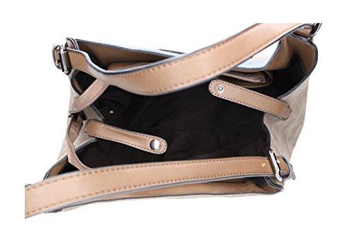 Borsa donna a spalla ANTONIO BASILE shopper con apertura zip Marrone