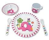Culina Kids piatto e ciotola in melamina stoviglie - elefante design. Set di 5