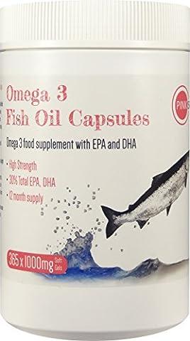 PINK SUN Omega 3 Huile de Poisson 1000mg x 365 Supplément avec EPA et DHA Gélules Molles - Omega 3 Fish Oil 1000mg Softgel Supplement