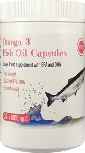 Hohe Omega 3 (PINK SUN Omega 3 Fischöl Kapseln 1000 mg x 365 mit EPA & DHA Hohe Festigkeit Softgel - Omega 3 Fish Oil Capsules)
