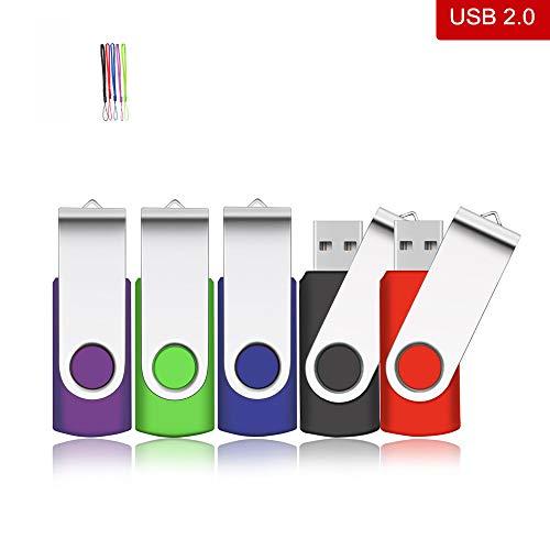 5 Stück 8GB Mini USB-Sticks, kacai USB 2.0 Speicherstick mit Schlüsselanhänger für Computer, Mehrfarbig (Rot, Schwarz, Grün, Blau, Violett)