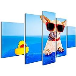 islandburner Cuadro Cuadros Perro Chihuahua en un colchón en el Agua del océano en la Playa, disfrutando de Vacaciones de Verano, lle