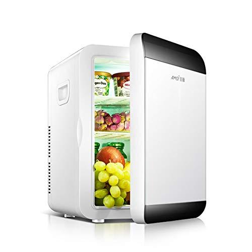 FJW Tragbar Kühlschrank fürs Auto 20L Zweikern Mini-Kühlschrank Dual-Spannung Kühle und warme elektrische Kühlbox, 12 V DC / 220-240 V AC für Auto/Home/Reisen/Camping,White,NO
