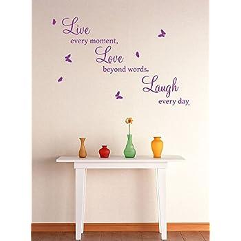 LIVE LOVE LAUGH Butterfly Wall Quote Sticker/Wall Decor/Home Art  Decoration/Medium,Large (PURPLE, Medium) Part 53