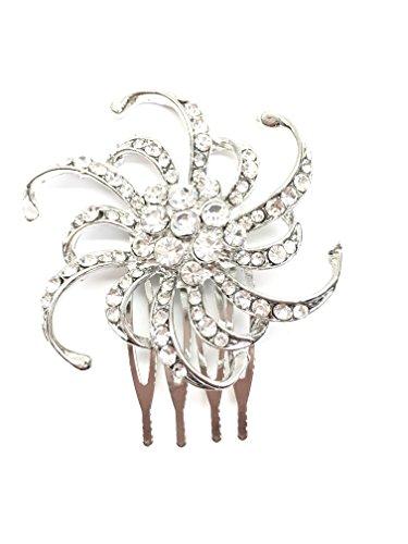 4410 2 cm Couleur Argent côté Peigne avec fleur en cristal de mariage de mariée Prom