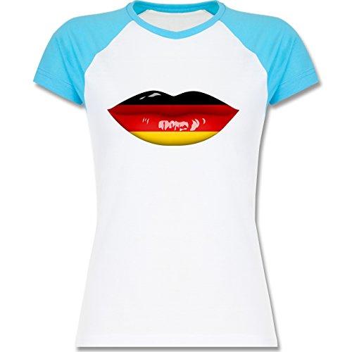 Shirtracer Fußball-WM 2018 - Russland - Lippen Bodypaint Deutschland - Zweifarbiges Baseballshirt/Raglan T-Shirt für Damen Weiß/Türkis