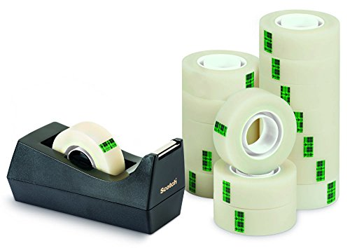 Scotch 214543 - Rollo de cinta adhesiva con dispensador (14 unidades, 19 mm x 33 m, fibra natural)