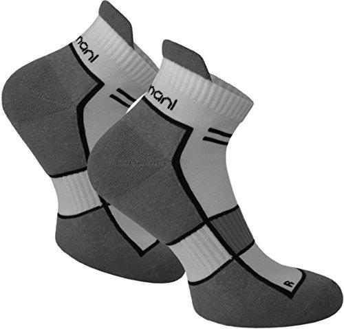 normani 2 Paar bis 10 Paar Sneaker Running Laufsocken Funktionssocken mit Frotteesohle und Stützfunktion Farbe Excalibur Größe 39/42-2 Paar - Rechts-links-socken
