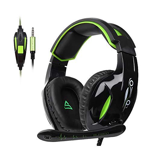 W-SHUMA E-Sports-Gaming-Headset, Kopfmontiertes Supersonic-Computer-Headset (Rauschunterdrückung) - Grün