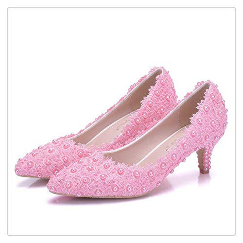 Women Shoes White Lace Wedding Shoes 5CM High Heels Shoes White Lace Sweet Pumps Princess Party Heels pink 39 (80-dollar-schuhe)