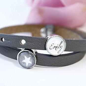 Armband Damen/Geschenke für Frauen Armband personalisiert mit Namen/Lederarmband mit Schiebeperlen/Freundschaftsarmband