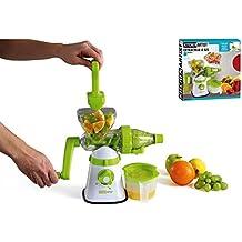 Licuadora manual Cortador en espiral mano manivela Frutas y Verduras Exprimidor (Depósito colector, pulpa de filtro, vertedor, picadora)