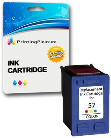 Printing Pleasure Color Druckerpatrone für HP Photosmart 7260 7350 7450 7660 7760 7960 C4180 C4280 C5280 Deskjet 5550 450CBi Officejet 5610 4215 PSC 1215 1210 1315 | kompatibel zu HP 57 (C6657AE) - 7760 Cyan Toner