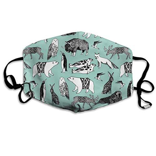 Winter Tiere Schneeeule Fox Eisbär Walross Winter Baby Tiere Kindergarten Print Wiederverwendbare Anti-Staub-Gesichtsmaske, staubdichte, atmungsaktive Außenmaske aus Polyester