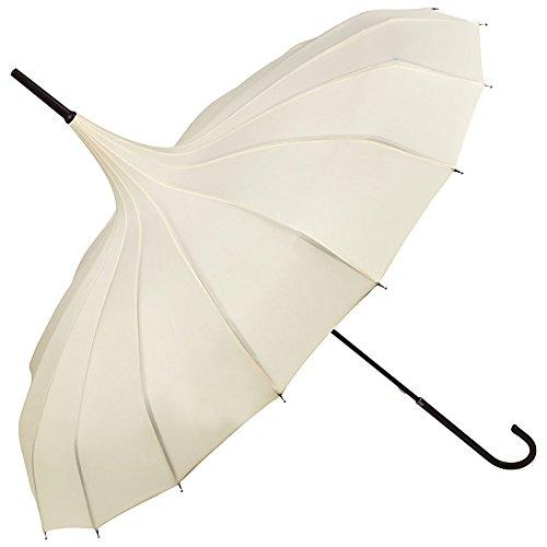 VON LILIENFELD Regenschirm Mode Damen Sonnenschirm Brautschirm Hochzeitsschirm Pagode Fabienne, creme/ivory