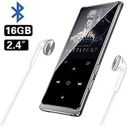 """MP3 BENJIE 16GB 2.4"""" Reproductor de MP3, MP3 Bluetooth Actualizar Espejo Volver HiFi sin pérdida de Sonido, FM Radio, Grabadora de Voz, Reproductor de Video Botón Táctil, Admite hasta 128 GB"""