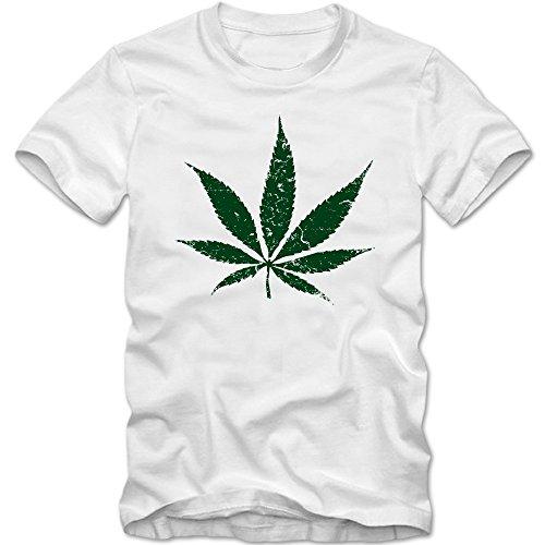 Hanfblatt Vintage T-Shirt   Herren   Weed  Cannabis   Rasta  Love   Peace   Reggae   Chill   XS-5XL © Shirt Happenz Weiß (White L190)