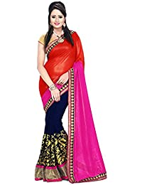 Shiroya Brothers Women's Georgette Saree With Blouse Piece ( Orange_Blue_Saree)
