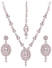 I Jewels Silver Plated Designer Necklace Set For Women (L3109ZW)
