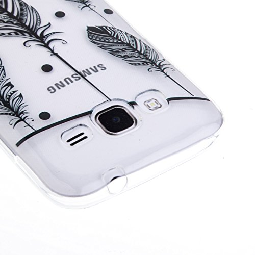 Coque iPhone 6 Plus/6S Plus Silicone [Avec Gratuit Protections D'écran],Housse iPhone 6 Plus/6S Plus Silicone,CaseHome Rétro Vintage Imprimé Motif Noir Ultra Mince Coussin D'air Cristal Clair Antichoc Oiseaux Plume