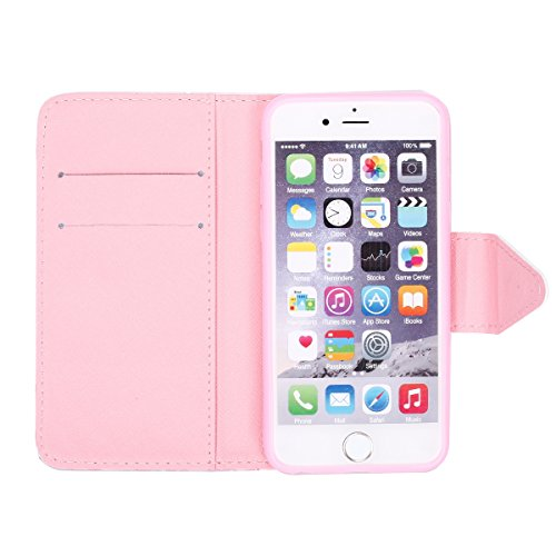 Etsue Custodia Per iPhone 6/6S 4.7 in Pelle Portafoglio,Divertente Creativo Disegno Sottile Leather PU Wallet Libro Protettivo Case Con Magnetica Stand Slim Fit Antigraffio Flip Folio Book Bumper Case a9