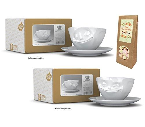 TV Tassen Kaffeetassen mit Henkel 2er Set, GLÜCKLICH+GRINSEND, 200 ml, Fiftyeight Products