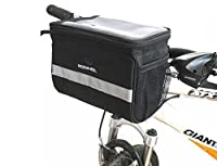 Welltop Bicycle Cycling Basket Handlebar Bag Bike Bag with Silver Grey Reflective Stripe Outdoor Activity Bicycle Pack Accessories Black 3.5L