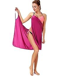 2aefb166f3d5b SAYFUT Womens V Neck Wrap Dress Beach Spaghetti Straps Dress Knee Beach  Dresses Backless Bikini Cover up Sundresses Spa Swim…