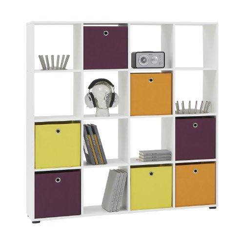 FMD 248-006_we Mega Bibliothèque avec 16 Casiers Bois Blanc 33 x 138,5 x 143 cm