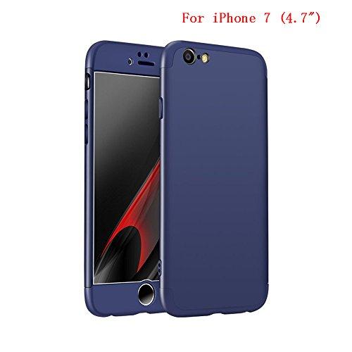 Coque iPhone 7, uiano® Protection 360 degrés Housse complète Protection 3 en 1 Combinaison Anti-Scratch PC Ultra-mince Coque antichoc Perfect Fit pour iPhone 7 Noir + Argent + verre trempé Bleu marin