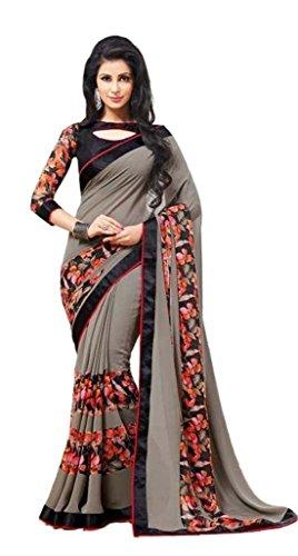 Hinayat Fashion Women\'s Chiffon Saree(NHT01SRI276_Grey_Free Size)
