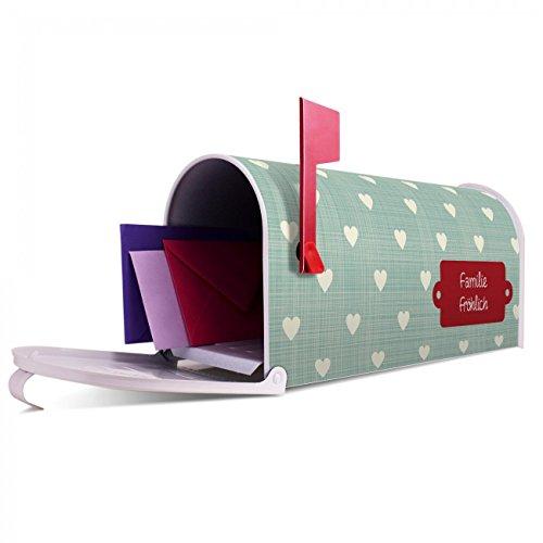 BANJADO US Mailbox | Amerikanischer Briefkasten 51x22x17cm | Letterbox Stahl weiß | mit Motiv WT Muster Herzen, Briefkasten:ohne Standfuß - 5