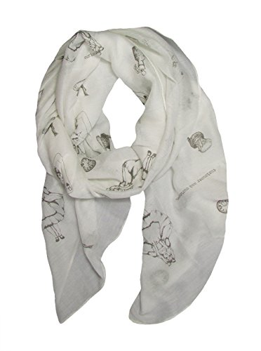 Alice in Wonderland - Lewis Carroll Theme Print Off White Lightweight Scarf