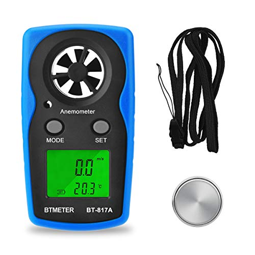 BTMETER Wind Speed Meter - BT-817A Handheld Anemometer Digital Gauge Thermometer Air Velocity & Temperature Measurement for Windsurfing Shooting Sailing Pocket Weather Station -